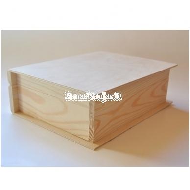 Medinė dėžutė knyga su nespalvotu audiniu 3