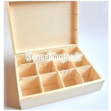Unfinished wood tea box - 12 compartments