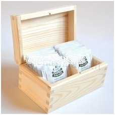 Unfinished wood tea box - 2 compartments