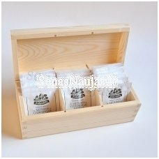 Unfinished wood tea box - 3 compartments
