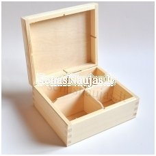 Unfinished wood tea box - 4 compartments