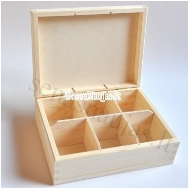 Unfinished wood tea box - 6 compartments