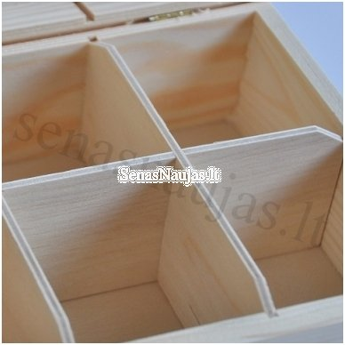 Unfinished wood tea box - 6 compartments 2