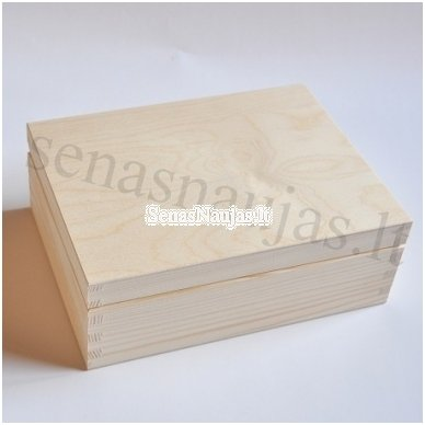 Unfinished wood tea box - 6 compartments 3