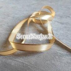 Atlasinė juostelė su aukso spalvos krašteliu