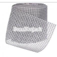 Dekoratyvi juostelė su plastikinėmis akutėmis, sidabro spalva