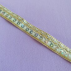 Decorative ribbon with sequins, white color
