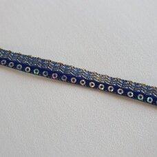 Decoration ribbon with sequins, blue color