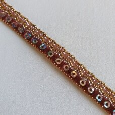 Decoration ribbon with sequins, brown color
