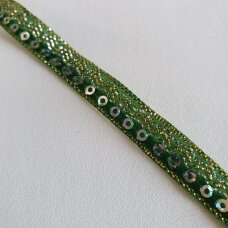 Decoration ribbon with sequins, green color