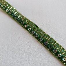 Dekoratyvi juostelė su žvyneliais, žalia sp.