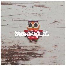 Owl-shaped decorative button, 1 piece