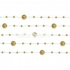 Dirbtinių perlų girlianda, aukso spalva