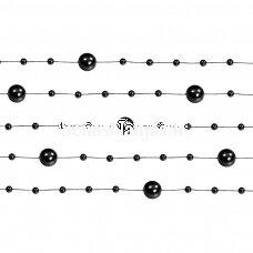 Dirbtinių perlų girlianda, juoda spalva
