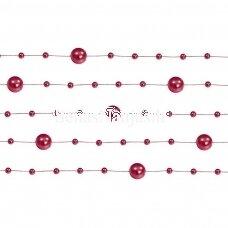 Dirbtinių perlų girlianda, raudona spalva
