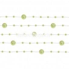 Dirbtinių perlų girlianda, šviesi žalia spalva