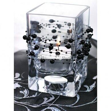 Dirbtinių perlų girlianda, juoda spalva 2