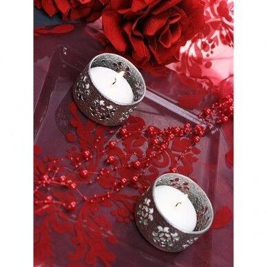 Dirbtinių perlų girlianda, raudona spalva 3