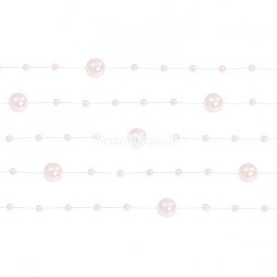 Dirbtinių perlų girlianda, šviesi rožinė spalva
