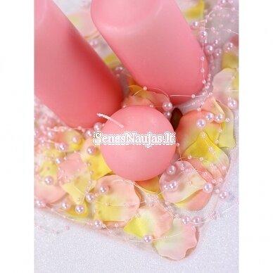 Dirbtinių perlų girlianda, šviesi rožinė spalva 2