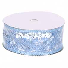 Jute ribbon with white bows, light blue color