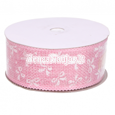 Jute ribbon with white bows, light pink color