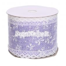 Džiuto juostelė su baltais kaspinais, šviesi violetinė sp.