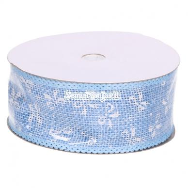 Džiuto juostelė su baltais kaspinais, šviesi mėlyna sp.