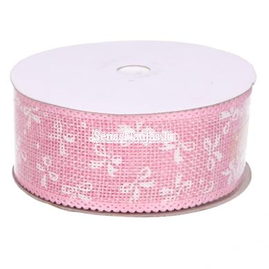 Džiuto juostelė su baltais kaspinais, šviesi rožinė sp.