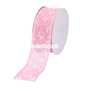 Džiuto juostelė su baltais kaspinais, šviesi rožinė sp. 2
