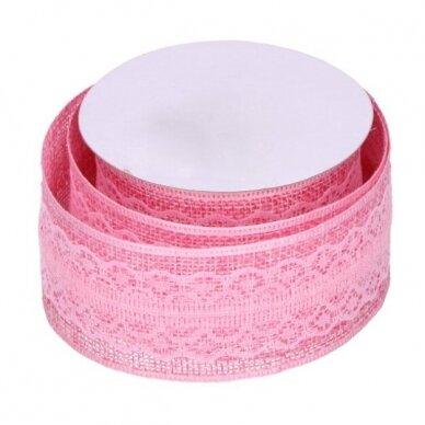 Džiuto juostelė su nėriniais, rožinė sp.