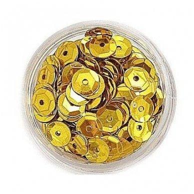 Facetuoti žvyneliai siuvinėjimui, aukso spalva