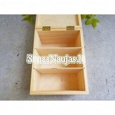 Medinė dėžutė su skyreliais nuotraukoms, laiškams, receptų kortelėms