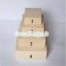 Medinė kvadratinė dėžutė, nr. 2 (su kaiščiuku)