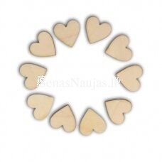 Wooden shape HEARTS, 10 pieces