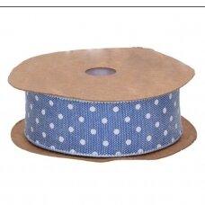 Medžiaginė juostelė su taškiukais, mėlyna sp.