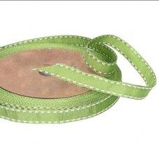 Medžiaginė juostelė, žalia su baltais dygsniais
