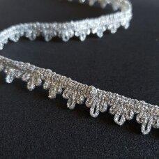 Metalizuota dekoratyvi juostelė, sidabro spalva