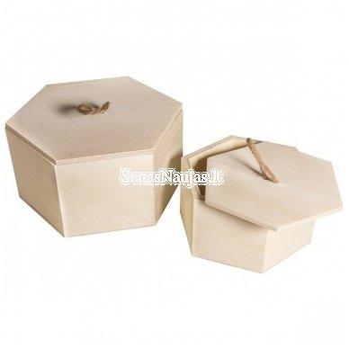 Medinių rombo formos dėžučių rinkinys