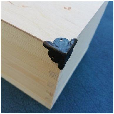 Metalinis kampas dėžutėms be vinukų, 1 vnt. tamsintas