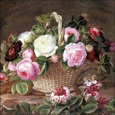 Popierinė servetėlė dekupažui ROŽĖS, ¼ foto