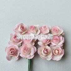 Popierinės rožytės, rožinė ir balta sp., 12 žiedų