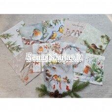 Popierinių servetėlių rinkinys su paukščių motyvais