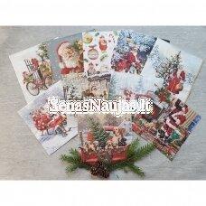 Popierinių servetėlių rinkinys su kalėdiniais, Kalėdų Senelis ir kt.