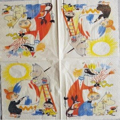 Popierinė servetėlė dekupažui TROLIAI MUMIAI