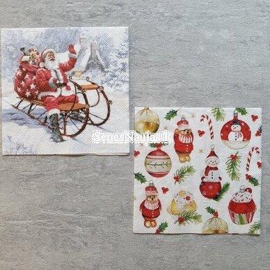 Popierinių servetėlių rinkinys su kalėdiniais, Kalėdų Senelis ir kt. 6