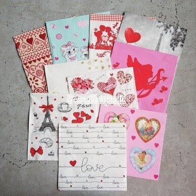 Popierinių servetėlių rinkinys šv. Valentino dienai