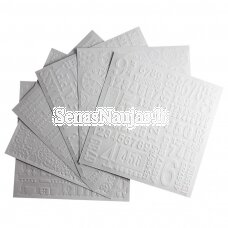 Set of 6 sheets of embossed paper
