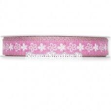 Rožinė juostelė su gėlytėmis