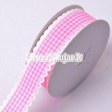 Rožinė languota juostelė su banguotu krašteliu